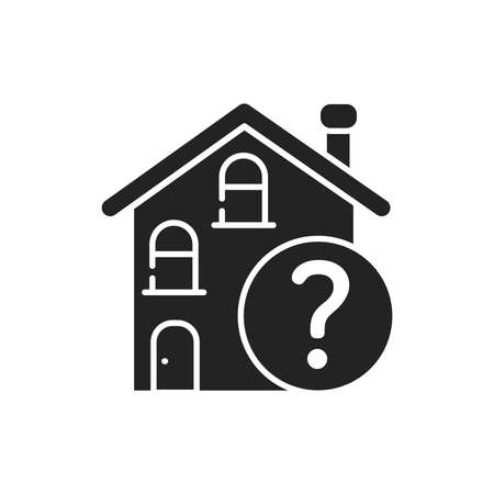 Residential building with a question mark glyph black icon. Confusion with location. Dementia symptom. Memory loss Ilustracja