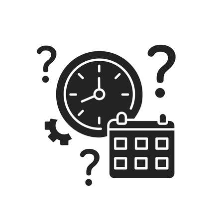 Clock and calendar with a question mark glyph black icon. Confusion with time and date. Dementia symptom. Memory loss. Ilustracja