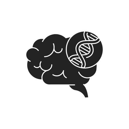 Genetic predisposition dementia glyph black icon. The disease is inherited.
