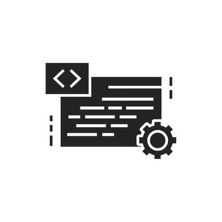 IT courses black glyph icon. Programming, coding learning. Software development. E-learning. Pictogram for web page, mobile app. Ilustracja