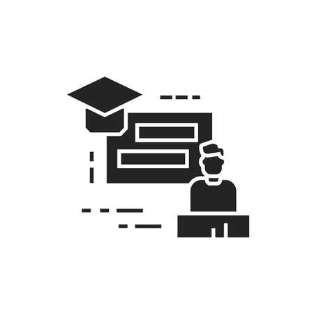 Training seminar black glyph icon. Tutor, educator, teacher. Group training. Pictogram for web page, mobile app. UI UX GUI design element. Ilustracja