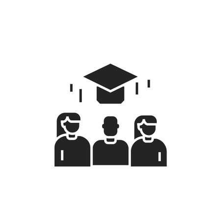 Courses training black glyph icon. Investing in yourself. People skill development. Pictogram for web page, mobile app. UI UX GUI design element