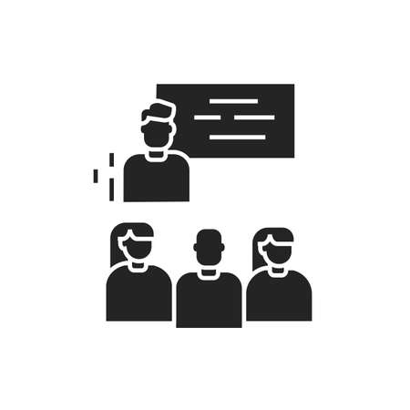 Workshop black glyph icon. Tutor, educator, teacher. Group training. Pictogram for web page, mobile app. UI UX GUI design element.
