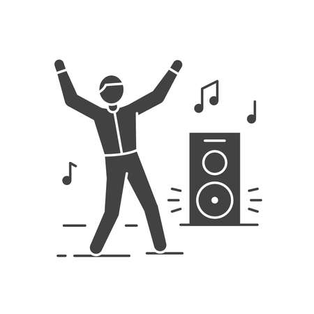 Dancing man black glyph icon. To have fun. Home leisure. Vector isolated illustration.