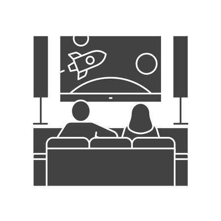 Young couple sitting on sofa and watching TV black glyph icon. Indoor view of living room with furniture. Home leisure. Vector isolated illustration.