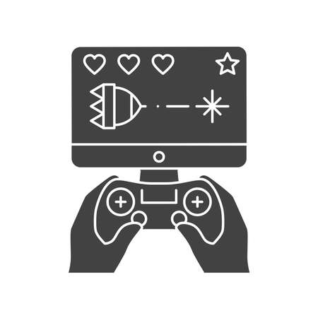 Computer games black glyph icon. Gamer holding joystick and playing video game. Home leisure. Vector isolated illustration. Ilustracja