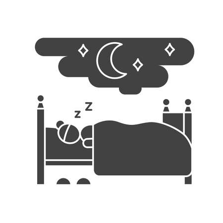 Woman sleeping on bed black glyph icon. Home interior. Indoor view of bedroom with furniture. Vector isolated illustration. Ilustracja