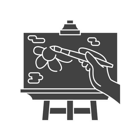 Draw a picture on an easel black glyph icon. Home leisure. Vector isolated illustration. Ilustracja