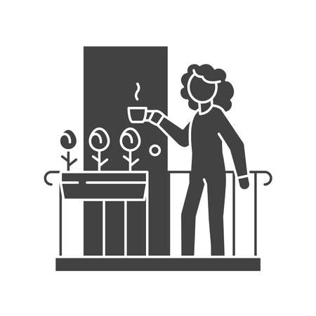 Woman are standing on balcony and drinking tea black glyph icon. Home facade balcony with window. Vector isolated illustration.