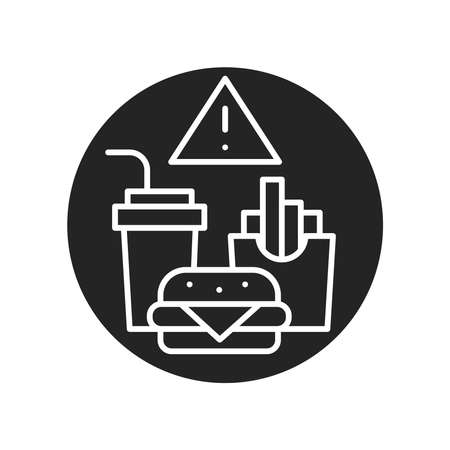 Caution junk food black glyph icon. Cause diseases gastric tract. Sign for web page, mobile app, button. Vector isolated element.