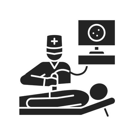 Ultrasound abdominal cavity black glyph icon. Medical checkup. Pictogram for web page, mobile app, promo.