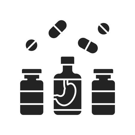 Pharmaceutical product black glyph icon. Digestive tract diseases. Sign for web page, mobile app, button Ilustracja