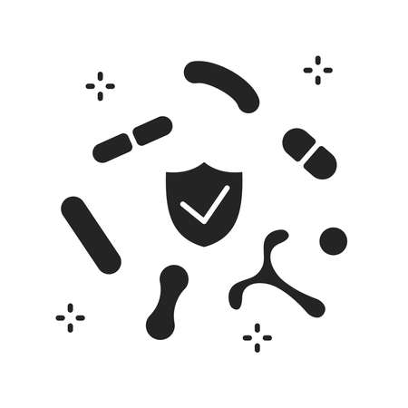 Human healthy intestinal microflora black glyph icon. Microscopic bacterias in Intestine. Sign for web page, mobile app, button Ilustracja