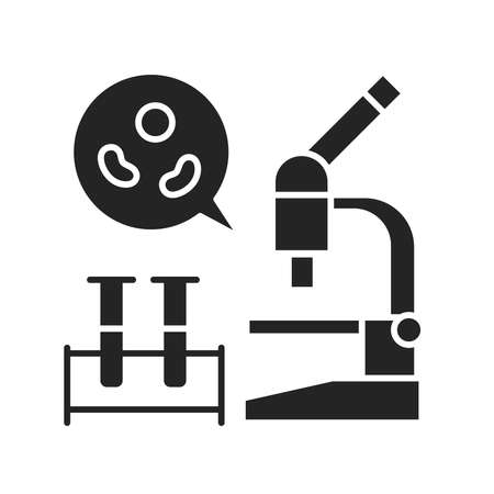 Blood test black glyph icon. Medical and scientific concept. Laboratory diagnostics. Pictogram for web, mobile app, promo. UI UX design element.