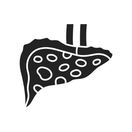 Liver disease hepatitis glyph black icon. Inflammation internal organ concept. Pictogram for web page, mobile app, promo. UI UX GUI design element.