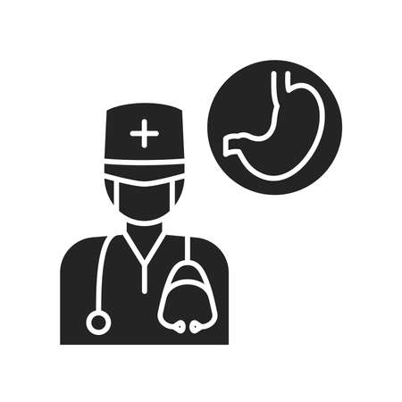 Gastroenterologist black glyph icon. Emergency. Pictogram for web page, mobile app, promo.