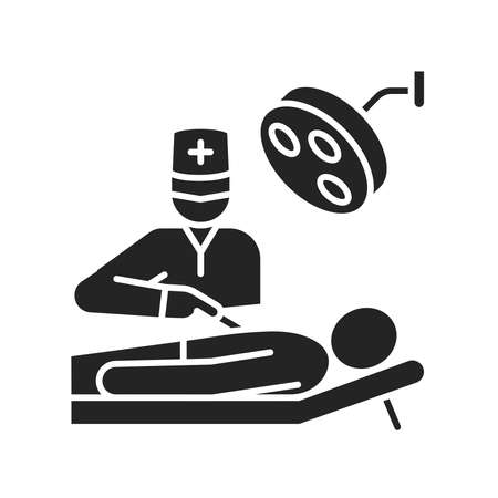 Surgery abdominal cavity black glyph icon. Surgical emergency. Pictogram for web page, mobile app, promo. Ilustracja