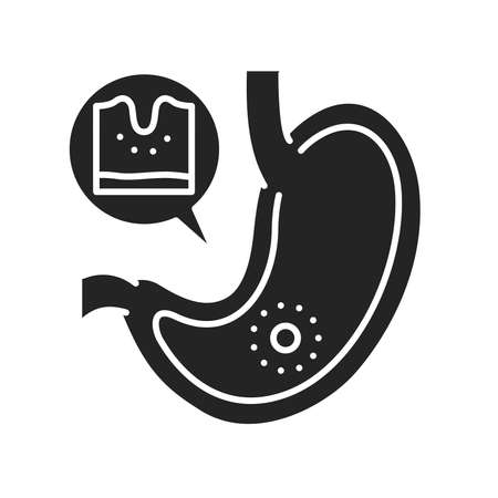 Stomach disease gastritis glyph black icon. Gastric inflammation. Human organ concept. Sign for web page, mobile app, button