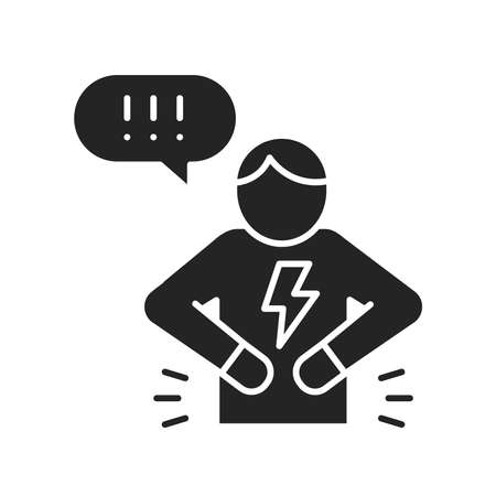 Man with acute pain in stomach black glyph icon. Sign for web page, mobile app, button. Vector isolated element.