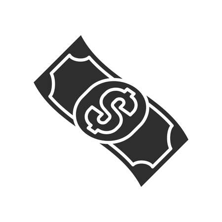Cash flow black glyph icon. Report and financial statements. Bookkeeping and accounting. Pictogram for web page, mobile app, promo. UI UX GUI design element. Ilustracja