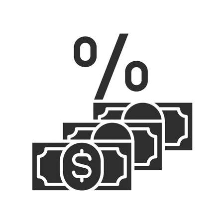 Dividend black glyph icon. Shareholder payments from net profit. Pictogram for web page, mobile app, promo. UI UX GUI design element.