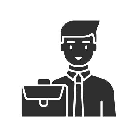 Finance manager black glyph icon. Pictogram for web page, mobile app, promo. UI UX GUI design element.