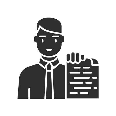Financial advisor black glyph icon. Advice on investment, saving money. Financial consulting. Pictogram for web page, mobile app, promo. UI UX GUI design element.