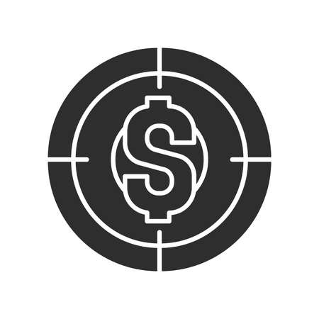 Financial goal black glyph icon. Investment planning. Pictogram for web page, mobile app, promo. UI UX GUI design element.
