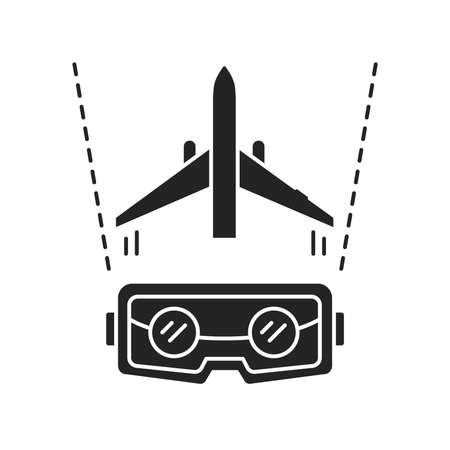 VR aviation black glyph icon. Pilot training and simulation. Smart industry. Pictogram for web page, mobile app, promo. UI UX GUI design element.