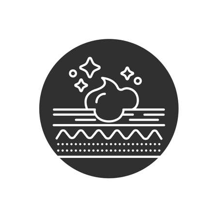 Moisturizing the skin layer glyph black icon. Skin care. Sign for web page, mobile app, button, logo. Vector isolated element.