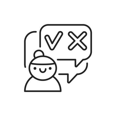 Decision-making black line icon vector on white