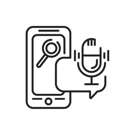 Voice Search mobile application in smartphone black line icon. Pictogram for web page, mobile app, promo. UI UX GUI design element. Editable stroke.