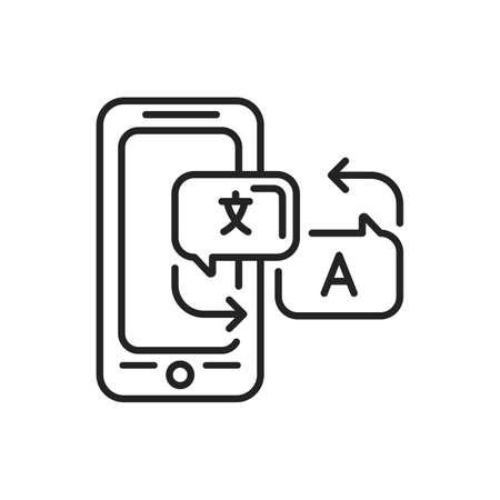Language translator mobile application in smartphone black line icon. Pictogram for web page, mobile app, promo. UI UX GUI design element. Editable stroke. Illusztráció
