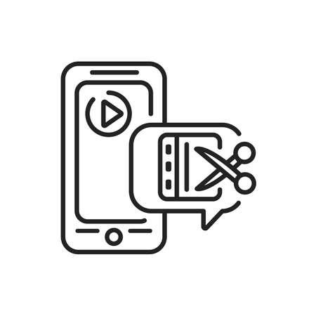 Video editor mobile application in smartphone black line icon. Pictogram for web page, mobile app, promo. UI UX GUI design element. Editable stroke.