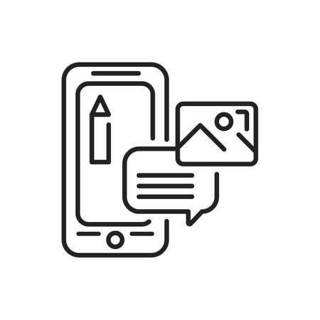 Photo editor mobile application in smartphone black line icon. Pictogram for web page, mobile app, promo. UI UX GUI design element. Editable stroke.