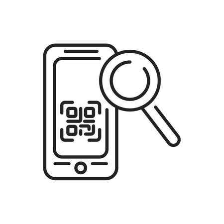 Scanner QR mobile application in smartphone black line icon. Pictogram for web page, mobile app, promo. UI UX GUI design element. Editable stroke Illusztráció