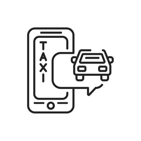 Taxi mobile application in smartphone black line icon. Pictogram for web page, mobile app, promo. UI UX GUI design element. Editable stroke.