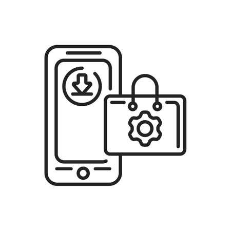 App store mobile application in smartphone black line icon. Pictogram for web page, mobile app, promo. UI UX GUI design element. Editable stroke