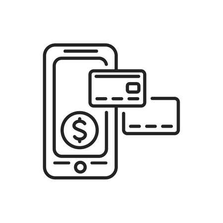 Internet banking mobile application in smartphone black line icon. Pictogram for web page, mobile app, promo. UI UX GUI design element. Editable stroke.