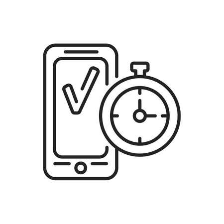 Time tracker mobile application in smartphone black line icon. Pictogram for web page, mobile app, promo. UI UX GUI design element. Editable stroke