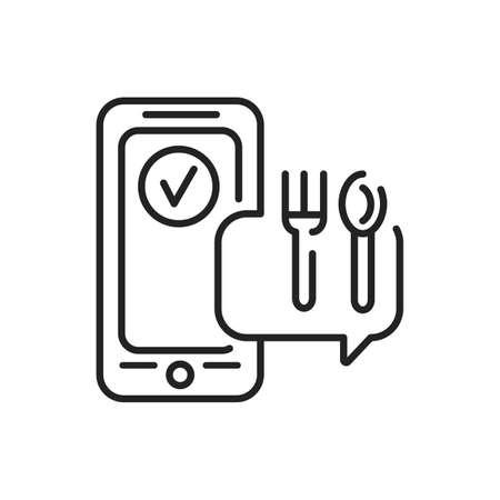 Order food mobile application in smartphone black line icon. Pictogram for web page, mobile app, promo. UI UX GUI design element. Editable stroke. Illusztráció