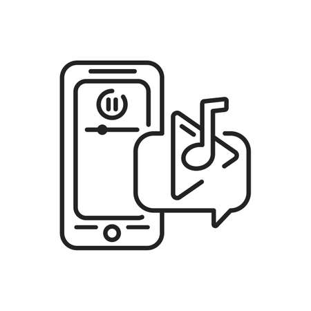 Music player mobile application in smartphone black line icon. Pictogram for web page, mobile app, promo. UI UX GUI design element. Editable stroke