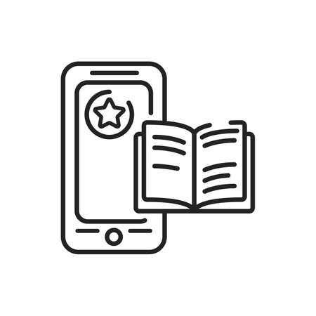 Reader mobile application in smartphone black line icon. Pictogram for web page, mobile app, promo. UI UX GUI design element. Editable stroke