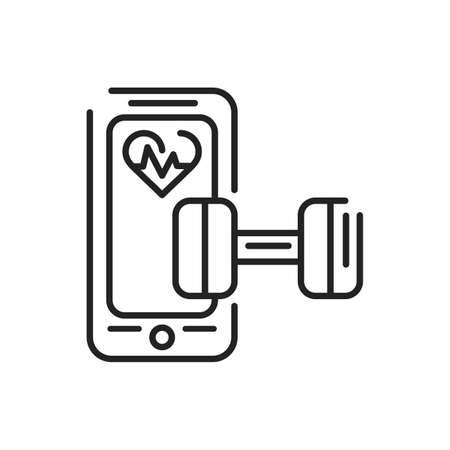 Fitness mobile application in smartphone black line icon. Pictogram for web page, mobile app, promo. UI UX GUI design element. Editable stroke