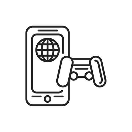 Online games mobile application in smartphone black line icon. Pictogram for web page, mobile app, promo. UI UX GUI design element. Editable stroke.