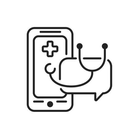 Online doctor mobile application in smartphone color line icon. Pictogram for web page, mobile app, promo. UI UX GUI design element. Editable stroke.