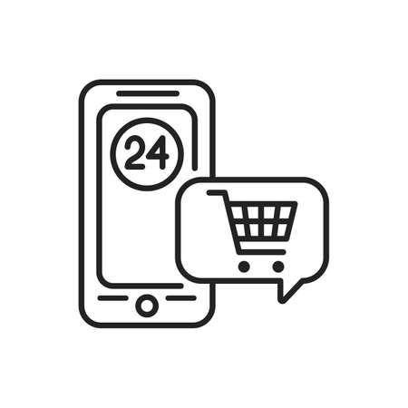 Online shopping mobile application in smartphone black line icon. Pictogram for web page, mobile app, promo. UI UX GUI design element. Editable stroke.