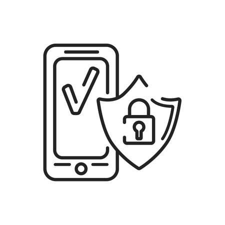 Antivirus mobile application in smartphone black line icon. Pictogram for web page, mobile app, promo. UI UX GUI design element. Editable stroke Illusztráció