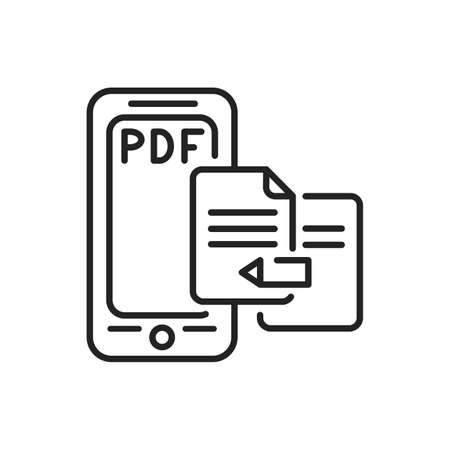 Redactor mobile application in smartphone black line icon. Pictogram for web page, mobile app, promo. UI UX GUI design element. Editable stroke.