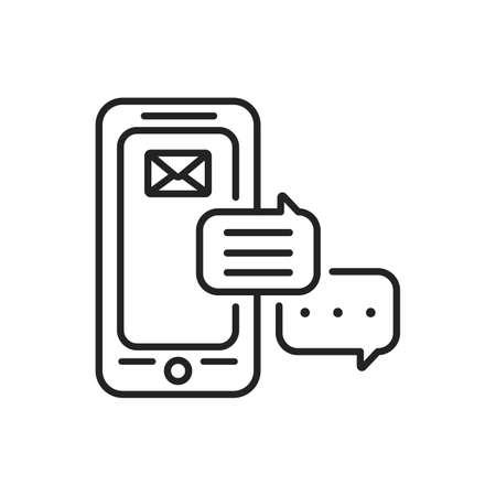 Messenger mobile application in smartphone black line icon. Pictogram for web page, mobile app, promo. UI UX GUI design element. Editable stroke